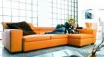 Луксозен ъглов диван по поръчка в оранжев цвят